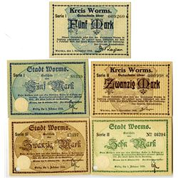 Worms District. 1918-1919. Lot of 5 Issued Notes.