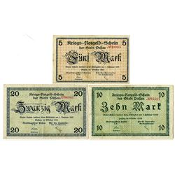 City of Passau. 1919. Trio of Issued Notes.