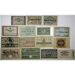 DŸsseldorf City. 1920s. Lot of 15 Issued Notes.