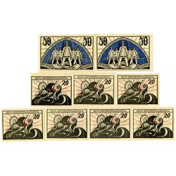 Norderdithmarschen District. ND (1920-23). Lot of 9 Issued Notes.