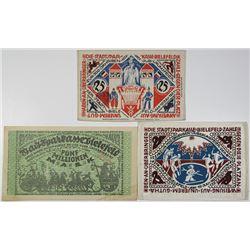 Stadtsparkasse Bielefeld. 1921-1923. Lot of 3 Issued Notes.
