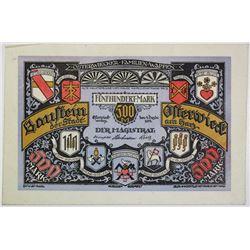 Baustein der Stadt Osterwieck am Harz. 1922. Issued Note.