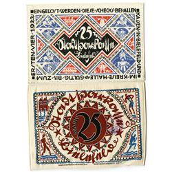 Germany, City of Bielefeld. 1922. Issued Linen or Silk Notgeld Note Pair.