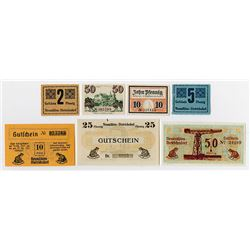 Neumuehlen-Dietrichsdorf  and other Assorted German Notgeld Issuers. 1922. Group of 7 Issued Notes F