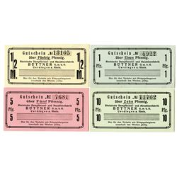 Rhenish Steam Boiler & Machine Factory. ND (ca. 1920s). Lot of 4 Issued Notes.