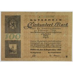 Stadthauptkasse Pšssneck i. ThŸr. 1922. Issued Note.