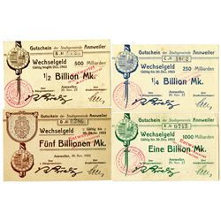 Annweiler Municipality. 1923. Lot of 4 Issued Notes.