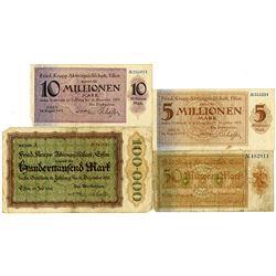 Fried. Krupp Aktiengesellschaft, Essen. 1923. Lot of 4 Issued Notes.