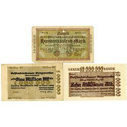 Gelsenkirchen City & Gelsenkirchen Mining Co. 1923-1924. Lot of 3 Issued Notgeld Inflation Notes.