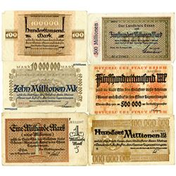 Stadt Essen. 1923. Lot of 6 Inflationary Issued Notes.