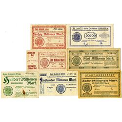 Stadt GrŸnstadt. 1923. Lot of 7 Issued Notes.