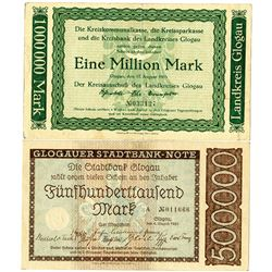 Stadtbank Glogau & Glogau District Bank. 1923. Lot of 2 Issued Notes.