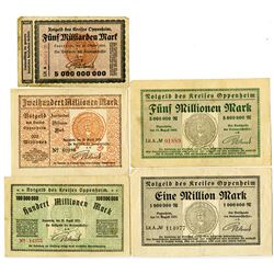 Town of Oppenheim. 1923. Lot of 5 Issued Notes.