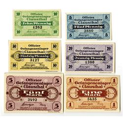 Clausthal Officer POW Camp. 1917. Lot of 6 Issued Notes.