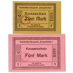 Langenbrahm Coal Mine POW Camp. ND (ca. 1918). Pair of Issued Notes.