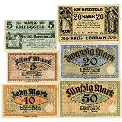 Lšrrach and Landsberg a. d. Warthe POW Camps. 1919. Lot of 6 Issued Notes.
