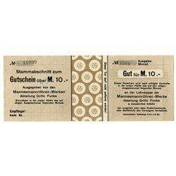 Mannesmannršhren-Werke Abteilung Grillo Funke (Gelsenkirchen - Schalke). ND (1920s). Issued Note.