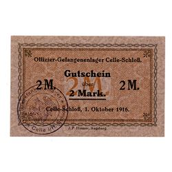 Officer POW Camp in Celle-Schloss. 1916. Issued Note.
