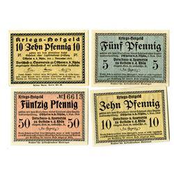 Ostheim vor der Rhšn POW Camp. 1918. Lot of 4 Issued Notes.