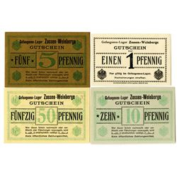 Zossen-Weinberge POW Camp. ND (ca. 1918). Lot of 4 Issued Notes.