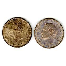 Bavaria, 5 Marks, 1913 D & 1914 D, German Coin Pair.
