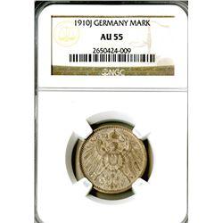 Empire. 1910J. 1 Mark. NGC graded AU 55.
