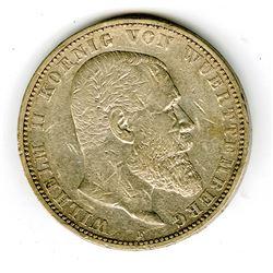 Wuerttemburg, 5 Marks, 1895 F German Coin.