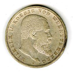 Wuerttemburg, 5 Marks, 1899 F German Coin.