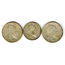 Wuerttemburg, 5 Marks, 1900 F & 1901 F & 3 Mark, 1908 P, Coin Trio.