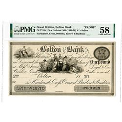 Bolton Bank. 18xx (1846-1878). Proof Note.