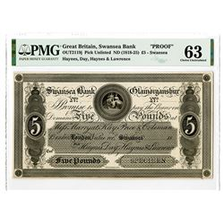Swansea Bank Glamorganshire. 18xx (1818-1825). Proof Note.