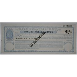 Great Britain - Postal Order, ND (ca.1860-70's) Specimen 4 Shilling Note.