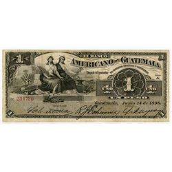 Banco Americano de Guatemala. 1898. Issued Banknote.
