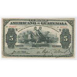 Banco Americano de Guatemala. 1915 Issue Banknote.