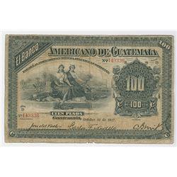 Banco Americano de Guatemala. 1917 Issue Banknote.