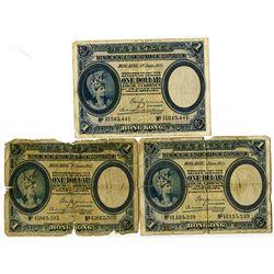 Hong Kong & Shanghai Banking Corp., 1935 Banknote Trio.