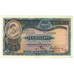 Hongkong & Shanghai Banking Corporation, 1930 Issue Banknote.