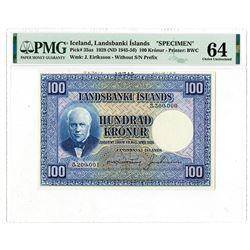 Landsbanki Islands. 1928 (ND 1945-1956) Specimen Banknote.