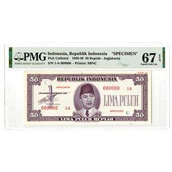 Republik Indonesia Unlisted 1948 Issue Essay Specimen Banknote.