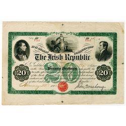 Irish Republic 1866, $20 Issued Bond Rarity.
