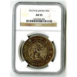 Japan, T3 (1914) 1 Yen, Coiled Dragon Dollar.