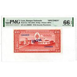 Banque Nationale Du Laos,  ND (1957) SBNC Specimen Banknote.