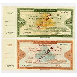 Development Bank S.A.L., ND (ca.1940-50's) Specimen Traveler's Check Pair.