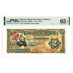 Banco de Londres y Mexico. 1914. Issued Banknote.