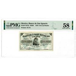 Banco San Ignacio. 1878. Remainder Banknote Rarity.