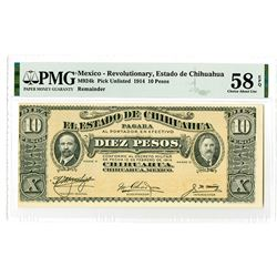 Estado de Chihuahua. 1914. Remainder Banknote.