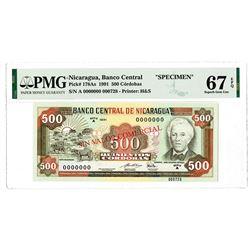 Banco Central De Nicaragua, 1991 Specimen Banknote.