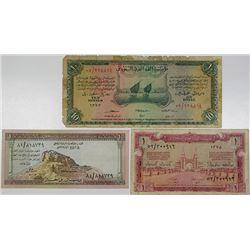 Saudi Arabian Monetary Agency. 1954-1961. Lot of 3 Issued Notes.