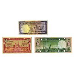 Saudi Arabian Monetary Agency. 1956-1968. Trio of Issued Notes.