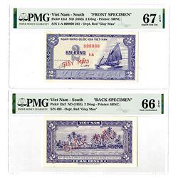 National Bank of Viet Nam. ND (1955). Front & Back Specimen Banknote Pair.